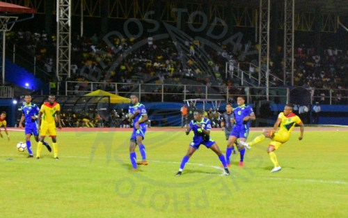 Barbados' defence being put to work after another shot taken by hosts Guyana who had the majority of ball possession.