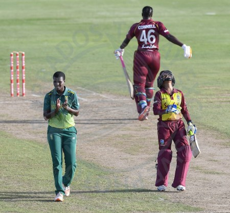 Delight for Masabata Klaas (left) and anguish for Shemaine Campbelle (right) who was last out in the Windies innings.