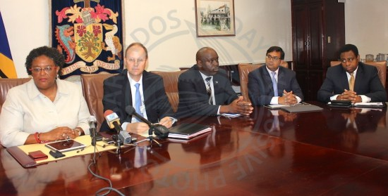 From left, Prime MInister Mia Mottley, IMF Head of mission to Barbados Dr Bert van Selm, Minister in the Ministry of Finance Ryan Straughn, economist Avinash Persaud and Central Bank Governor Cleviston Haynes at today's media conference.