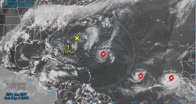 Three hurricanes rolling across Atlantic