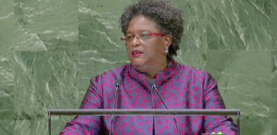 Prime Minister Mia Mottley speaking at the 73rd meeting of the UN General Assembly this afternoon in New York.
