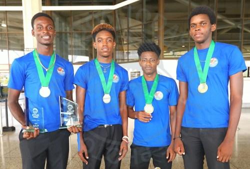 (From left) MVP Kiserian Adams, Rasheed Maynard, Deroni Hurley and Darren Nurse captured the boys Under-18 title. (Pictures by Morissa Lindsay).