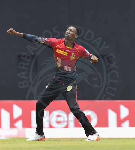 Left-arm spinner Kharry Pierre helped to dismantle the Volcanoes.