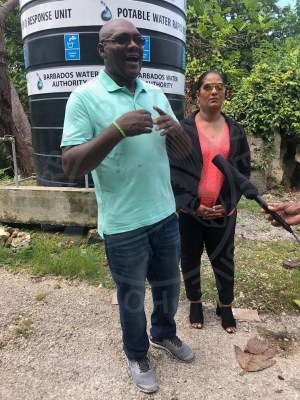 SSA's Public Relations Officer Carl Padmore (left) and BWA's rapid response and communications manager Joy-Ann Haigh speaking to the media today.