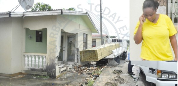 Kalah Alleyne's home was damaged this morning when a truck ran into it in Woodbourne, St Phillip.