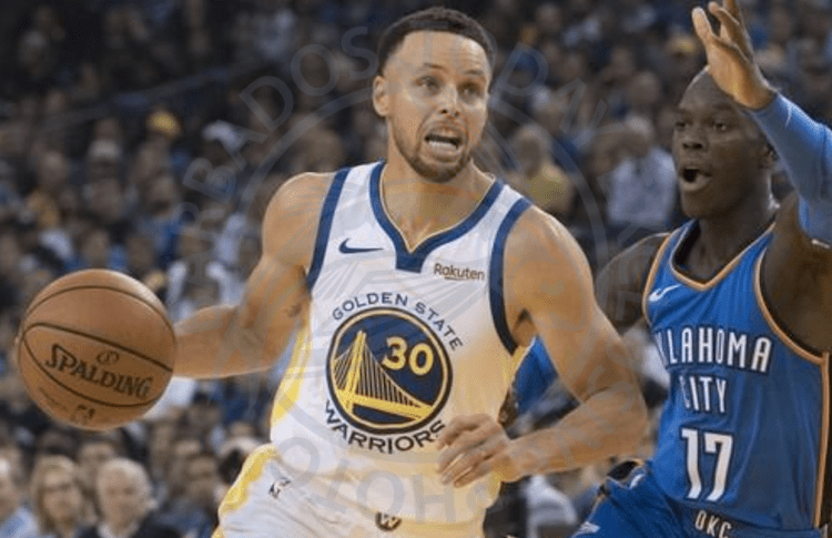 Warriors' Steph Curry (with ball) making a move on Thunder's new recruit Dennis Schroder.