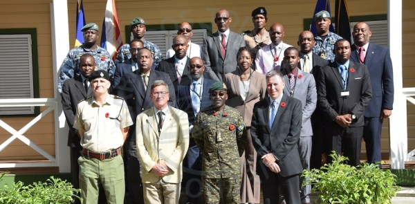 Participants in the five-day workshop on Counter Terrorism being held at the Barbados Defence Force's St. Ann's Fort headquarters.