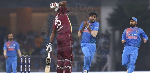 Fast bowler Jasprit Bumrah (second right) takes a catch to dismiss Kieron Pollard who failed for the umpteenth time in Windies colours.