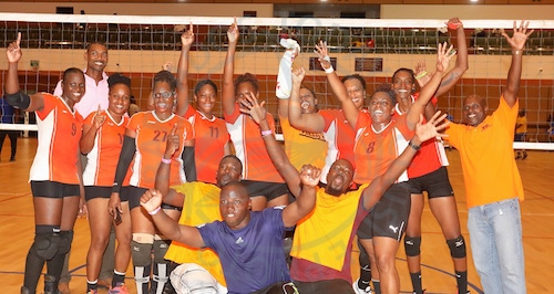 Pan American Life Insurance Warrens celebrate their capture of the Gel Senior Barbados Volleyball Association Knockout Competition.