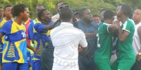 Players from Combermere and Lester Vaughan being separated after things escalated.
