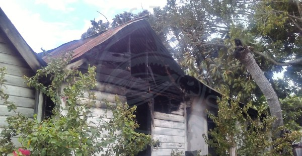 Fire completely destroyed the house occupied by Guyanese family at Harts Gap, Christ Church.