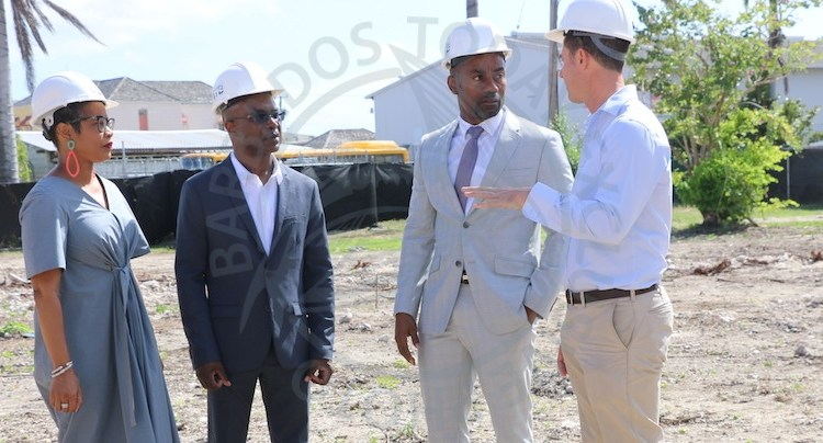 From left; Chairman of the Barbados Port Inc (BPI) Senator Lisa Cummins, Chief Executive Officer of the BPI David Jean Marie, Minister of Maritime Affairs and Blue Economy in conversation with developer James Edgehill.