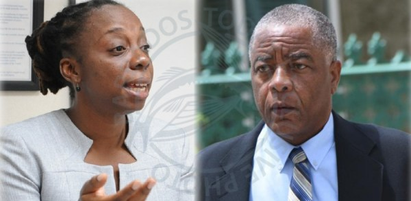 General Secretary of the Barbados Workers' Union Senator Toni Moore (left) and Opposition Senator Caswell Franklyn.