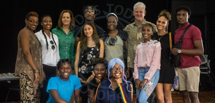 Sigourney Weaver and her husband actor/director Jim Simpson pose with students at today's workshop.
