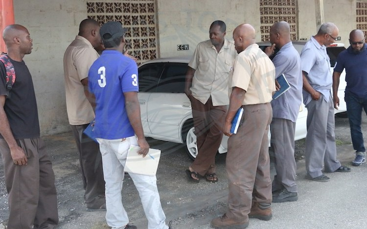 Workers from the Barbados Agricultural Management Company outside of the company's headquarters today.