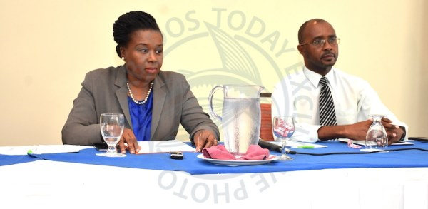 UPP leader Lynette Eastmond and public relations officer Wayne Griffith at today's media briefing.
