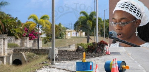 The structure which used to exist at the entrance to the Villages at Coverley has finally been removed. Inset, Felisha Osula Holder. (Picture by Haroon Greenidge.)