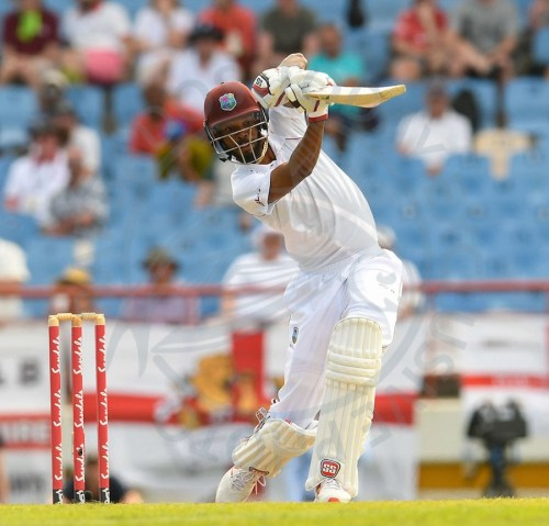 Roston Chase drives elegantly during his unbeaten century today.