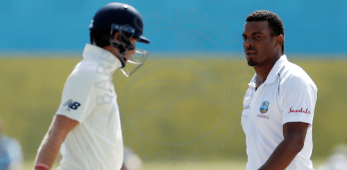 Fast bowler Shannon Gabriel (right) has been banned and fined for comments he made to England captain Joe Root (left).