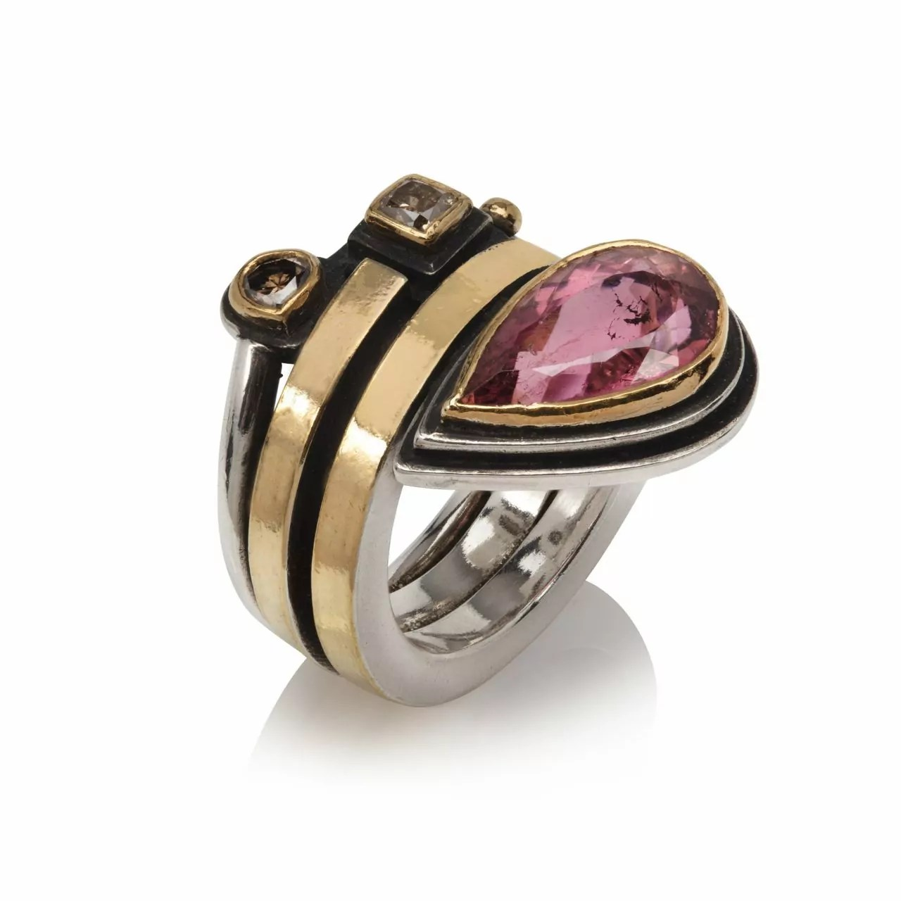 Ring with Pink Tourmaline and Brown Diamonds