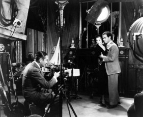 With Menjou and Capra on the set