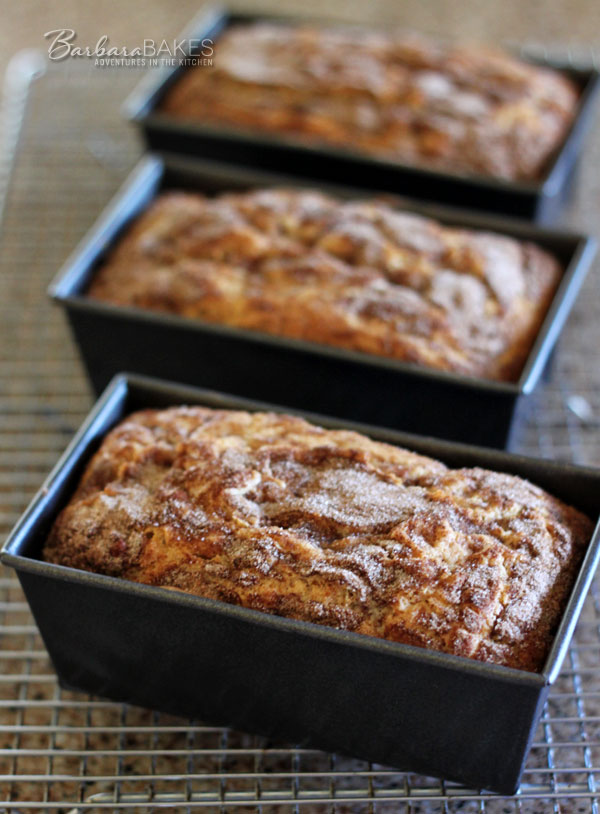 Snickerdoodle Bread in loaf pans