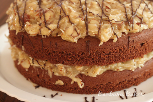 Easy German Chocolate Cake Recipe @BarbaraBakes