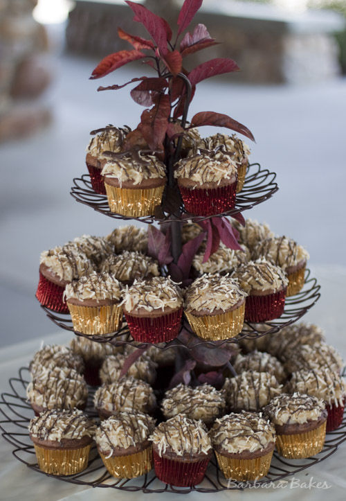 German Chocolate Cupcakes with Coconut Almond Frosting