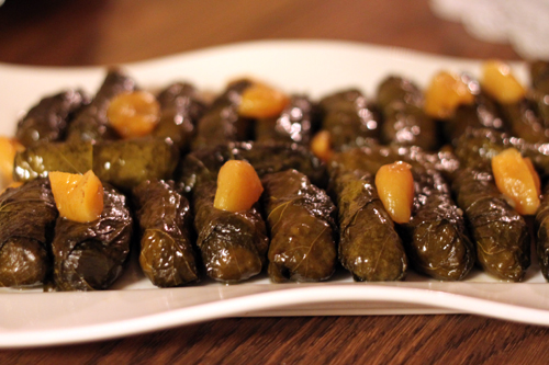 Stuffed Grape Leaves with Apricot Tamarind Sauce