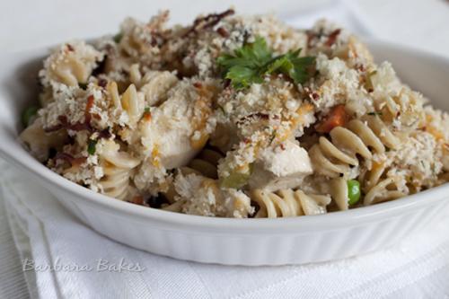 Chicken Tetrazzini Casserole on a white plate