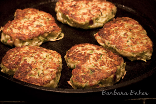Zucchini, Bacon and Cheese Fritters and Potato Rösti