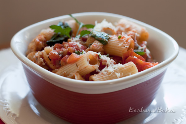 Rigatoni with Spicy Sausage, Tomato Sauce, Spinach, and Parmesan