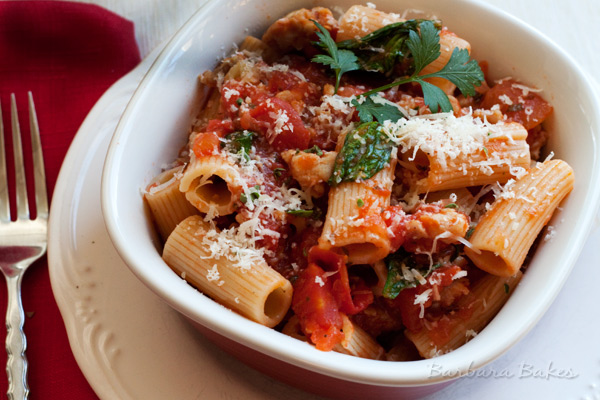 Rigatoni-with-Spicy-Sausage-Tomato-Sauce-3-Barbara-Bakes