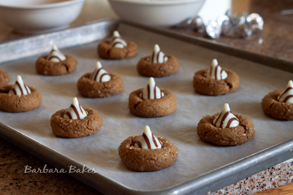 White Chocolate Kissed Gingerbread Cookies on a sheet pan