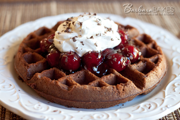 Featured Image for post Black Forest Waffle Brownies
