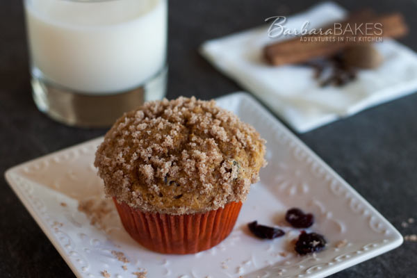 Featured Image for post Whole Wheat Pumpkin Cranberry Streusel Muffins