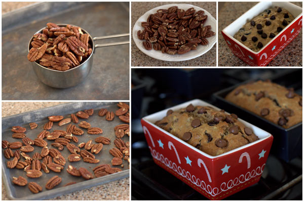 Toasting Pecans for Brown Sugar Banana Bread with Pecans and Chocolate Chips @BarbaraBakes.com