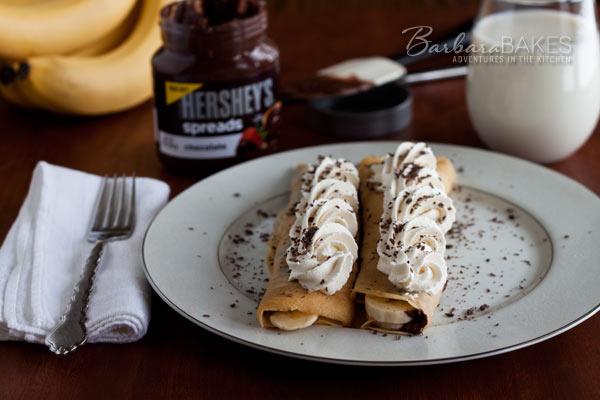 Chocolate Banana Crepes @BarbaraBakes.com