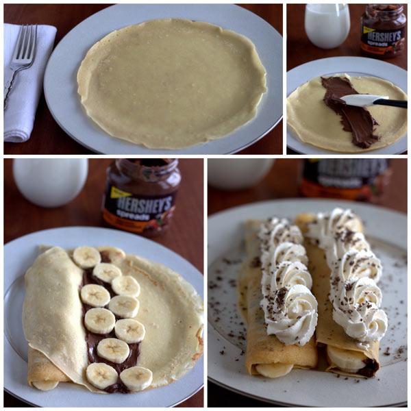 Collage of Making Chocolate Banana Crepes