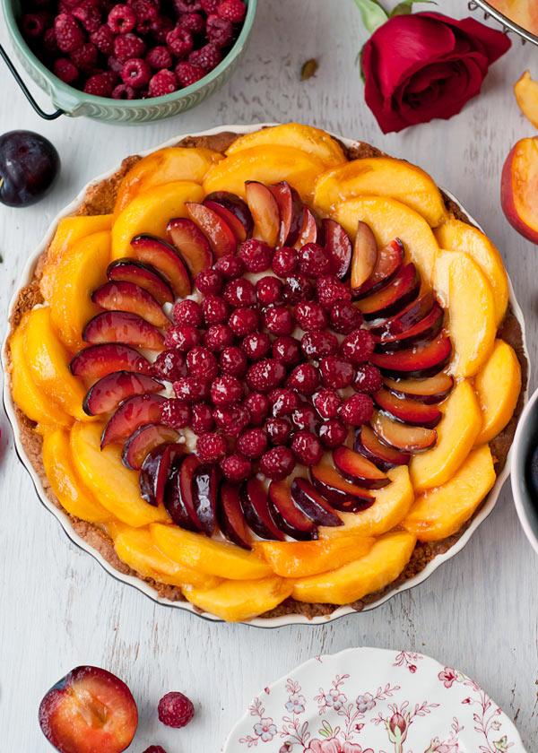 Peach-Plum-Raspberry-Tart