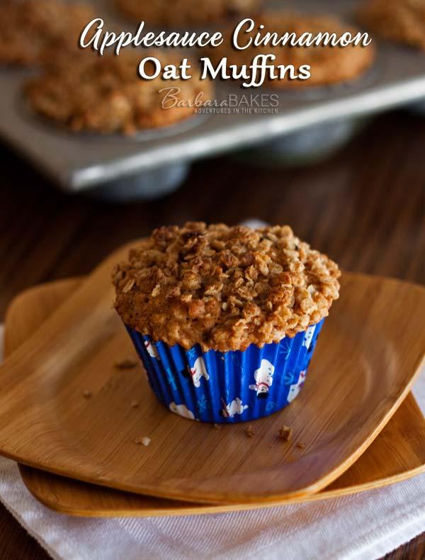 Applesauce Cinnamon Oat Muffin Recipe @BabaraBakes.com