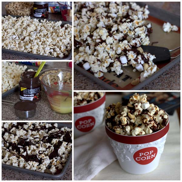 Collage of How to Make Easy Rocky Road Popcorn
