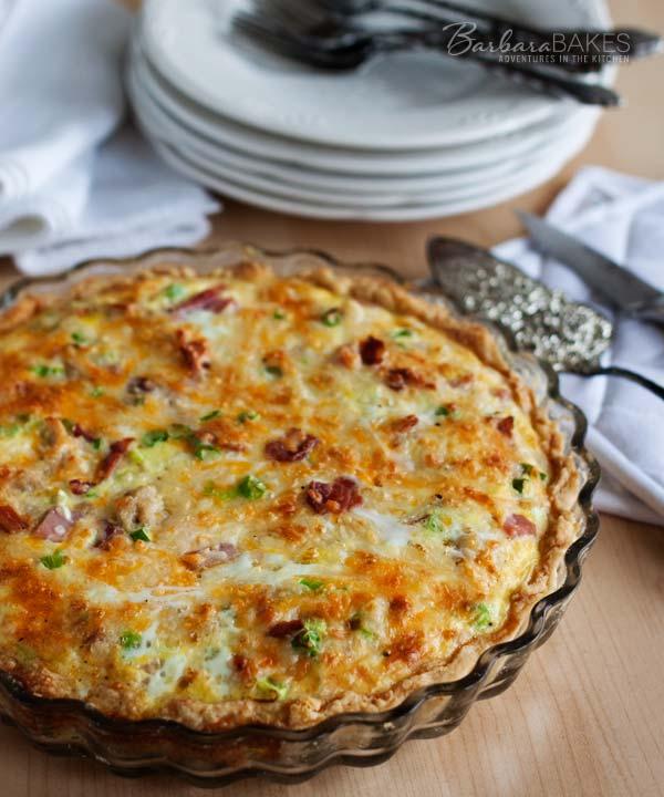 Meat Lovers Quiche Recipe @Barbara Bakes #breakfast