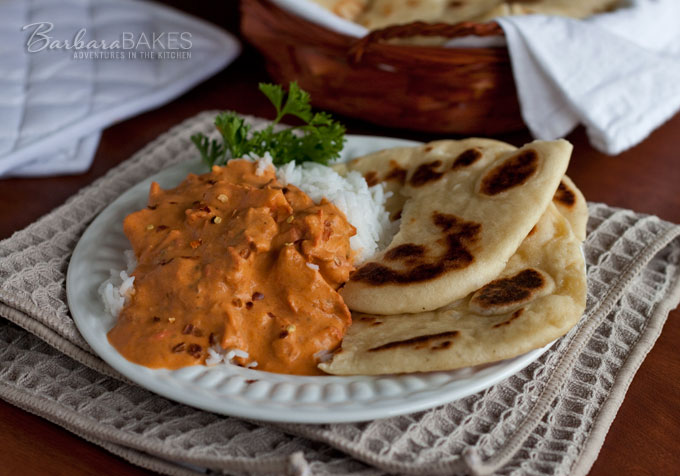 Naan - Indian Flatbread with Chicken Masala