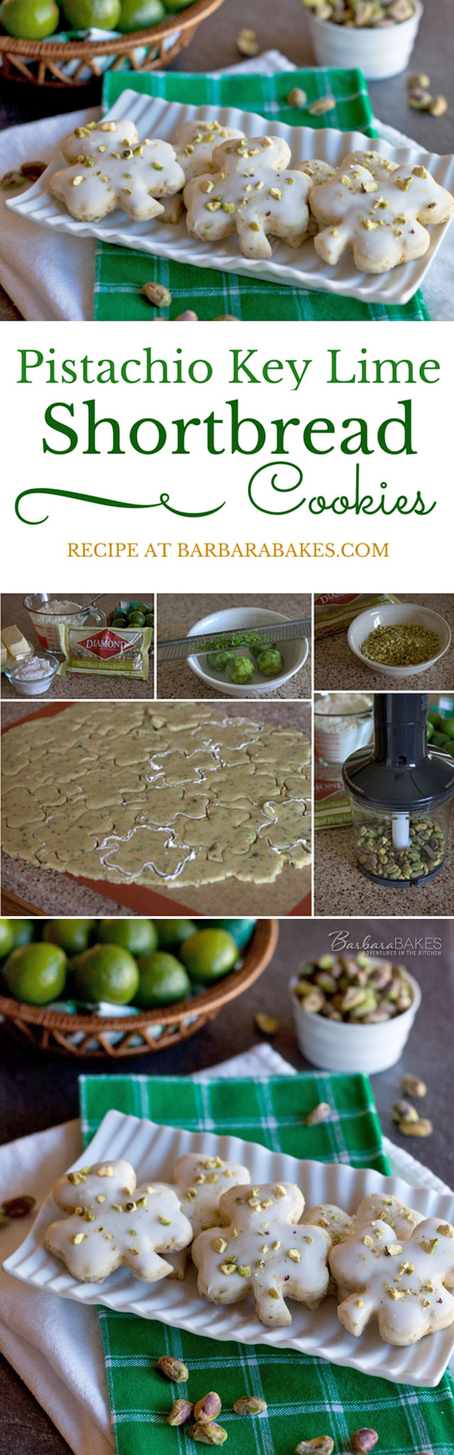 Collage of making Pistachio Key Lime Shortbread Cookies for St. Patrick\'s Day
