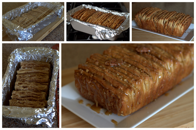 Collage of Baking Whole Wheat Caramel Pecan Pull-Apart Bread