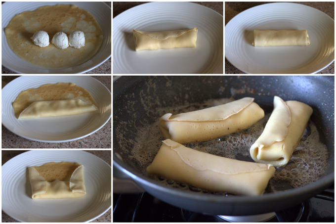 Collage of How To Make Cheese Blintzes from Babara Bakes