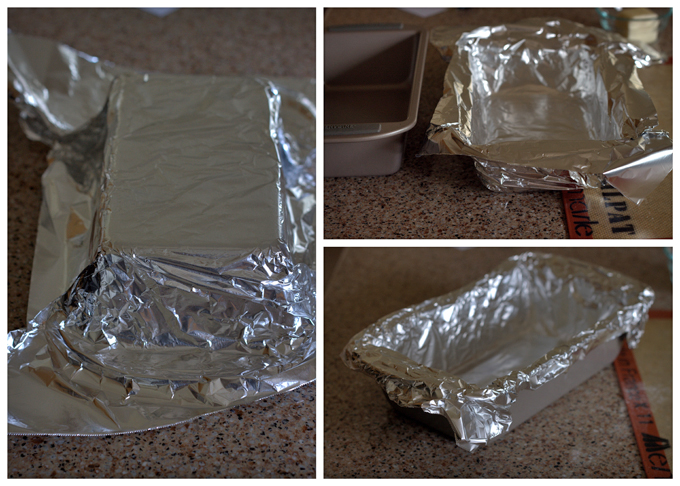 Collage of Lining a Loaf Pan with Foil