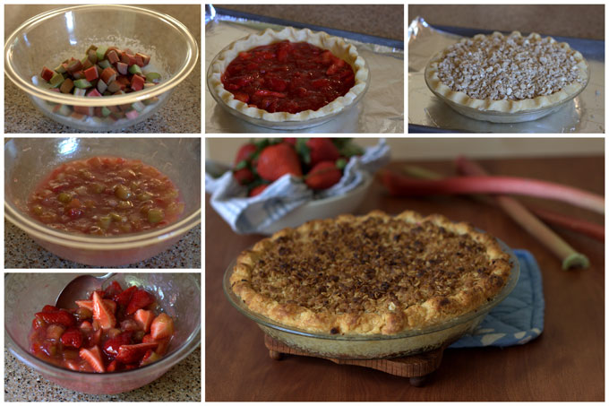 Collage of Baking Streusel Strawberry Rhubarb Pie