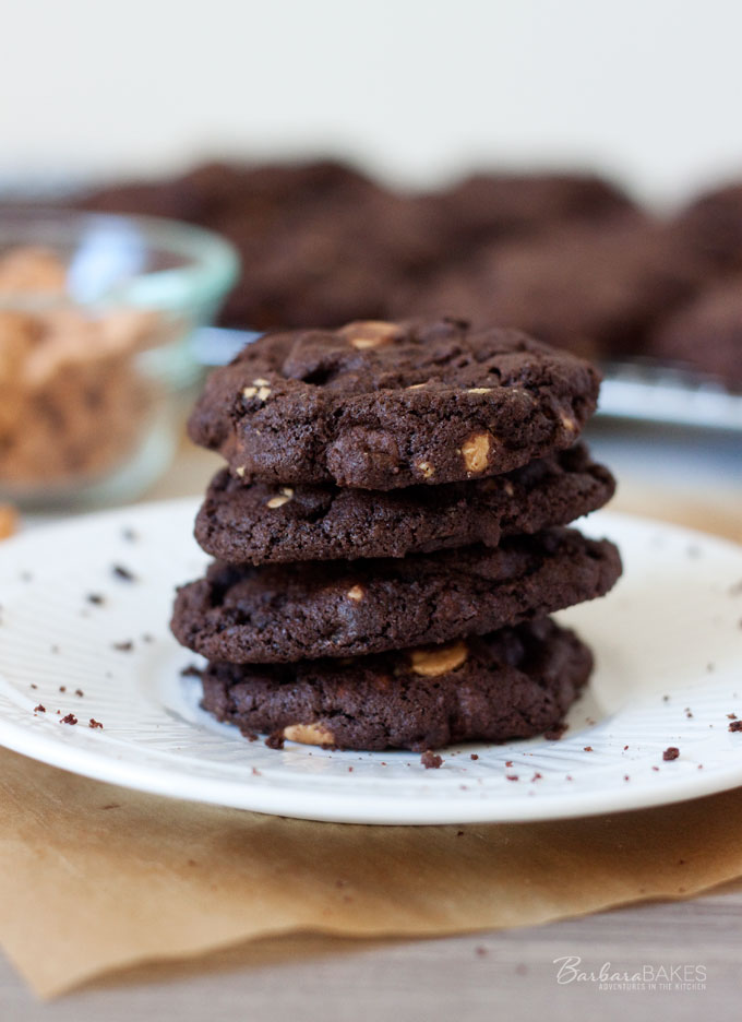 Chocolate Peanut Butter Chip Cookie Recipe - Rich, fudgy chocolate cookies loaded with semi-sweet chocolate chips and soft peanut butter chips.